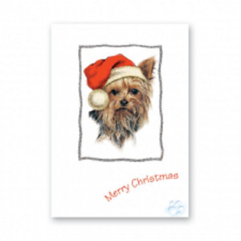 YORKSHIRE TERRIER CHRISTMAS GREETINGS CARD WESTIE CARD GLITTER